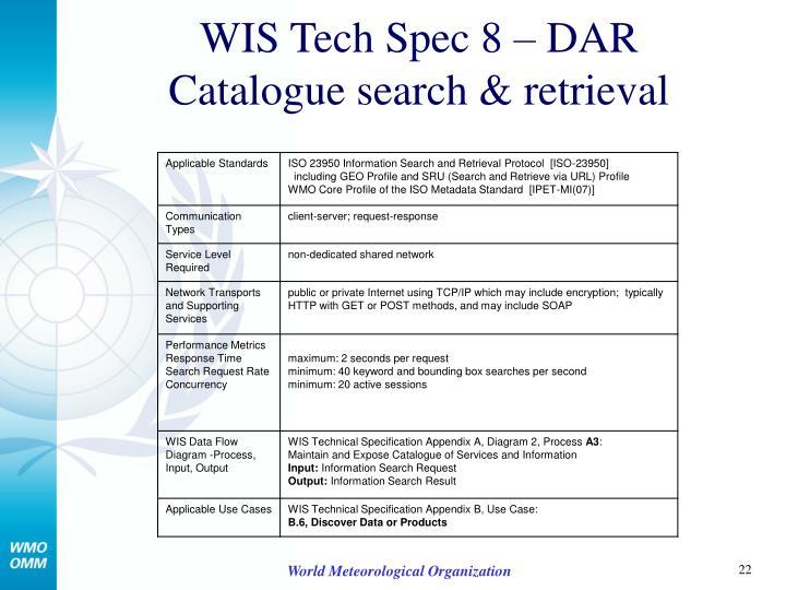 WIS Tech Spec 8 – DAR