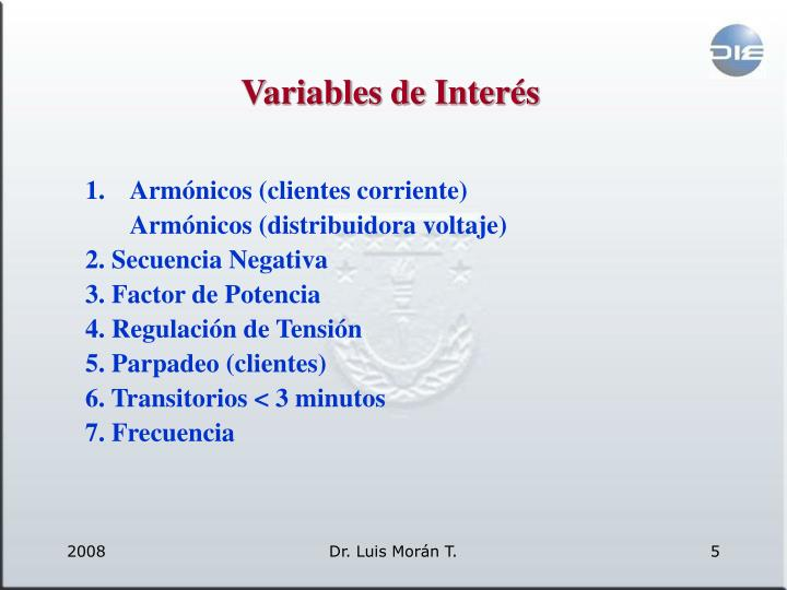 Variables de Interés