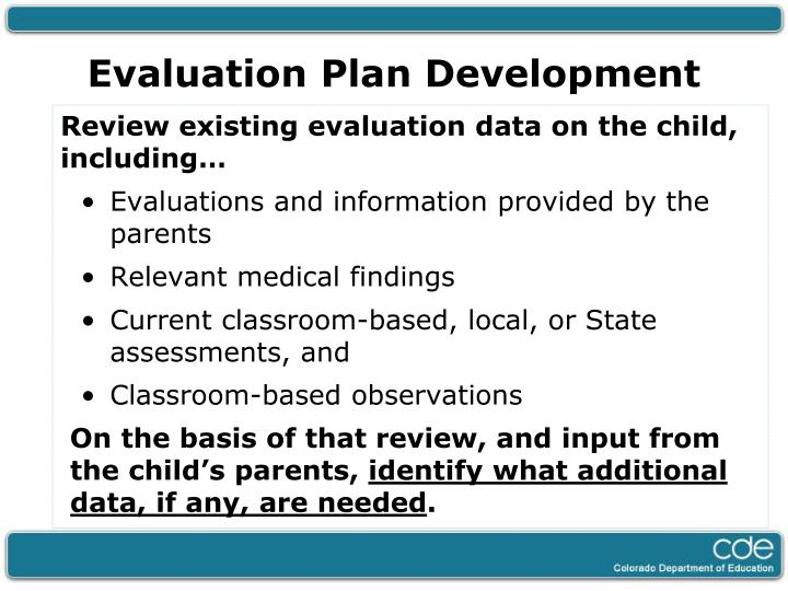 Evaluation Plan Development
