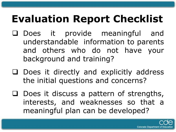 Evaluation Report Checklist