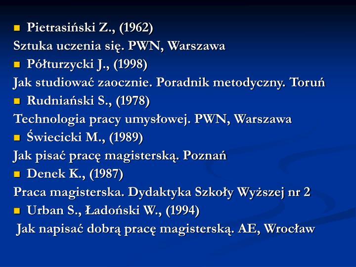 Pietrasiński Z., (1962)