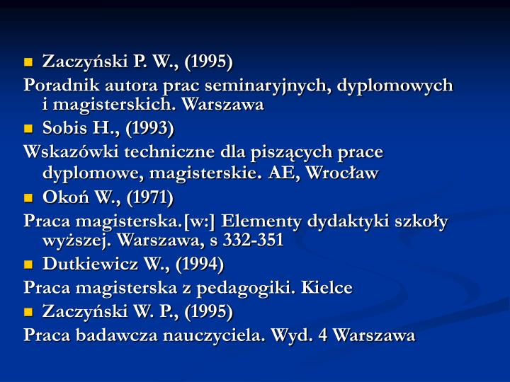 Zaczyński P. W., (1995)
