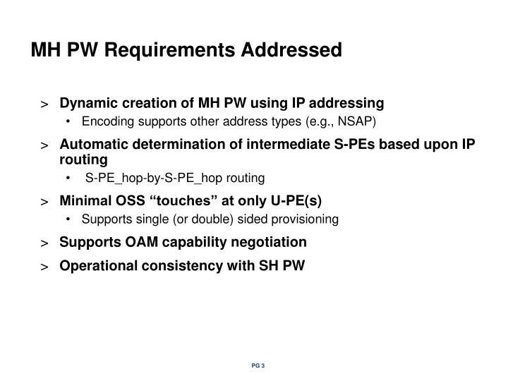 MH PW Requirements Addressed