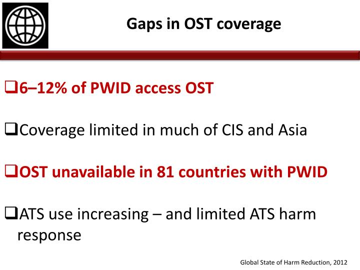 6–12% of PWID access OST