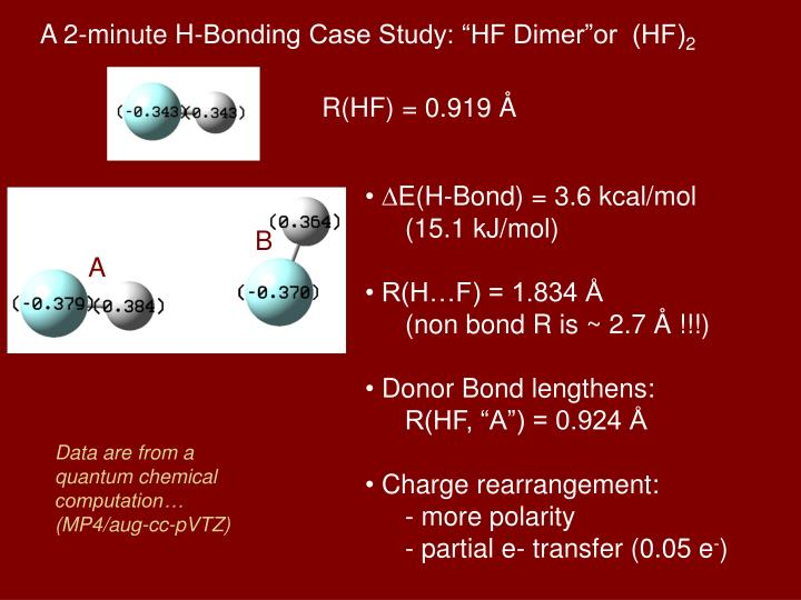"A 2-minute H-Bonding Case Study: ""HF Dimer""or  (HF)"