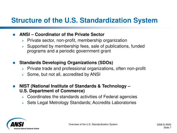 Structure of the U.S. Standardization System