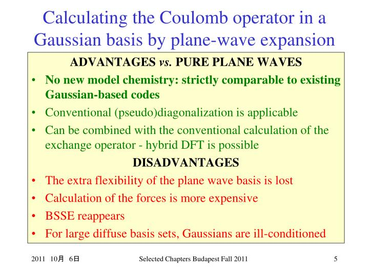 Calculating the Coulomb operator in a Gaussian basis by plane-wave expansion