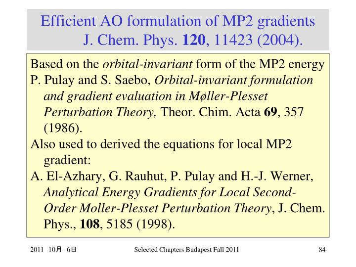 Efficient AO formulation of MP2 gradients