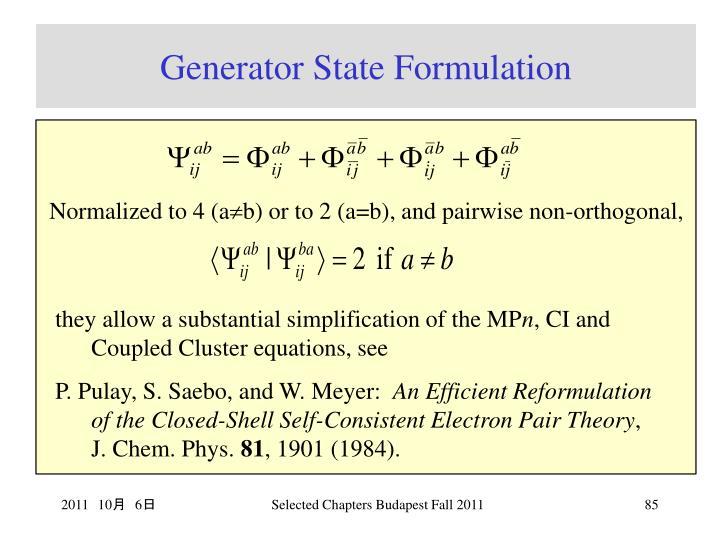 Generator State Formulation