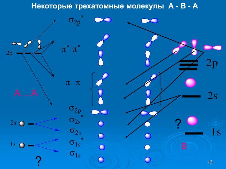 Некоторые трехатомные молекулы  А - В - А