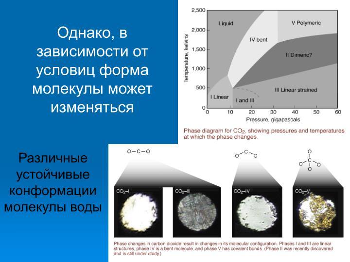 Однако, в зависимости от условиц форма молекулы может изменяться