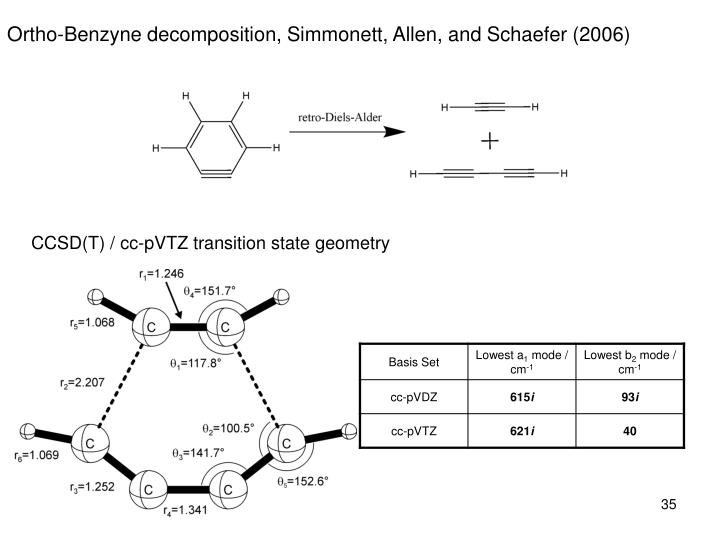 Ortho-Benzyne decomposition, Simmonett, Allen, and Schaefer (2006)