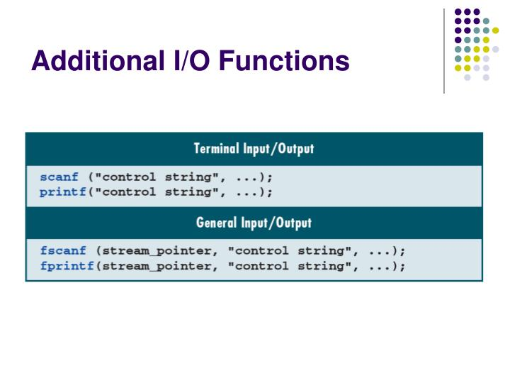 Additional I/O Functions