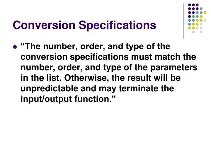 Conversion Specifications