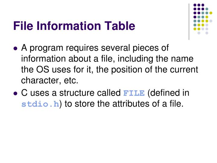 File Information Table