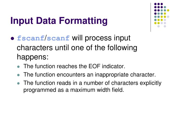 Input Data Formatting