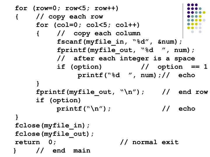 for (row=0; row<5; row++)