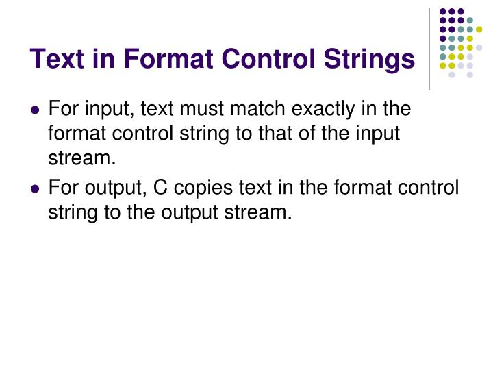 Text in Format Control Strings