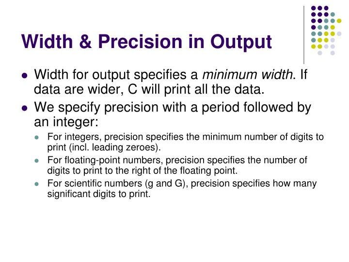Width & Precision in Output