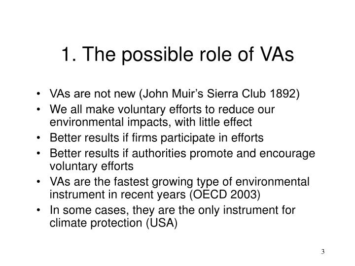 1. The possible role of VAs