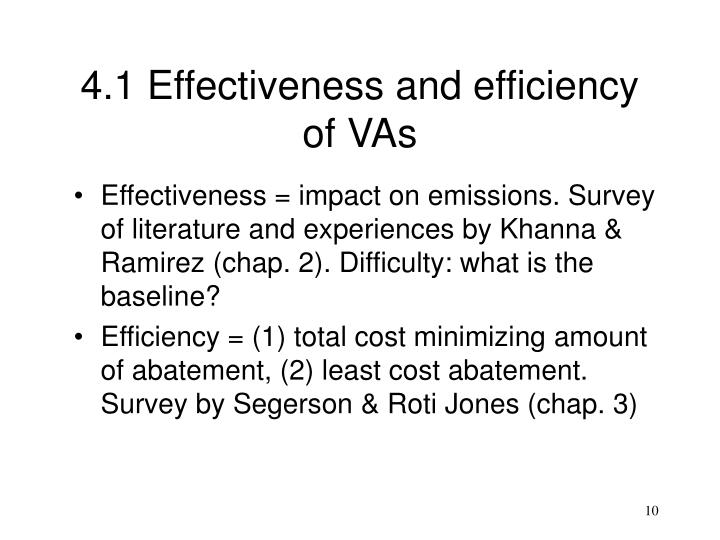 4.1 Effectiveness and efficiency of VAs