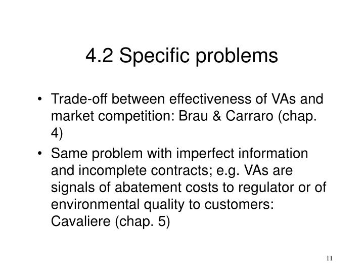 4.2 Specific problems