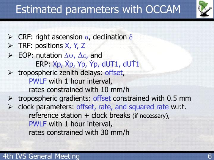 Estimated parameters with OCCAM