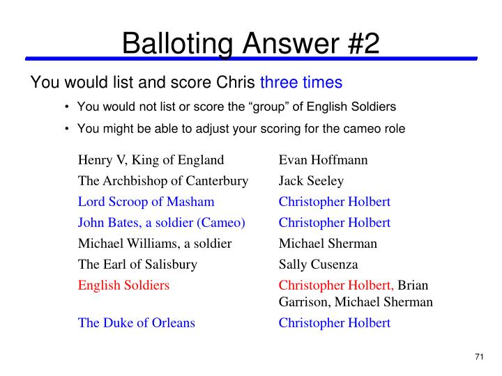 Balloting Answer #2