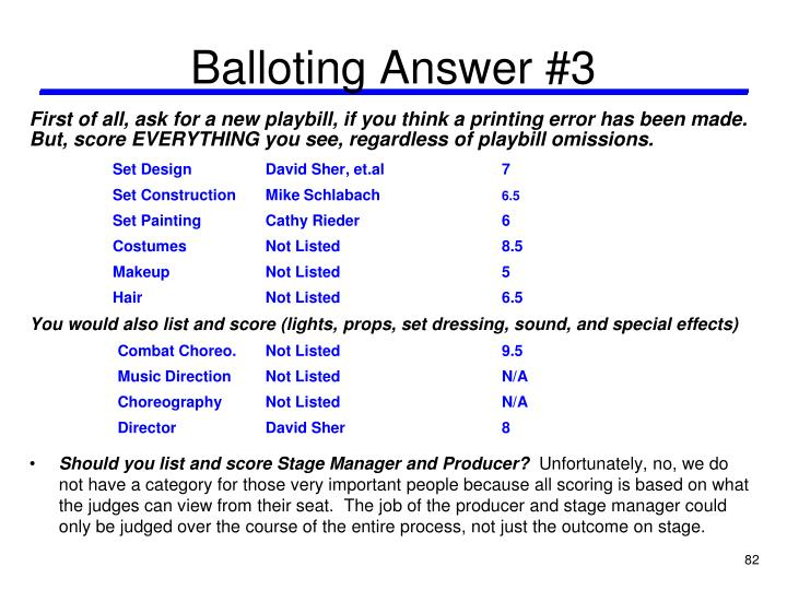 Balloting Answer #3