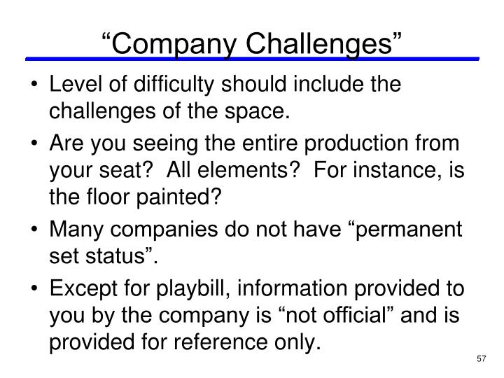 """Company Challenges"""