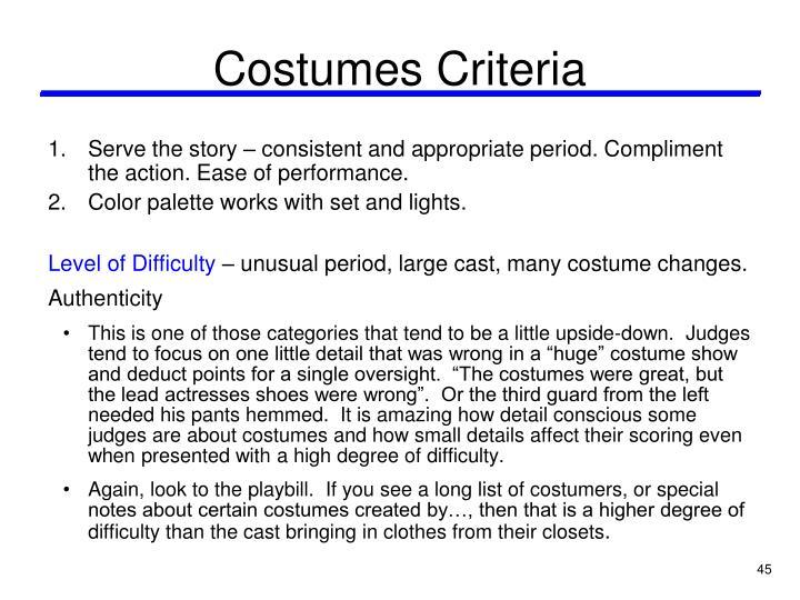 Costumes Criteria