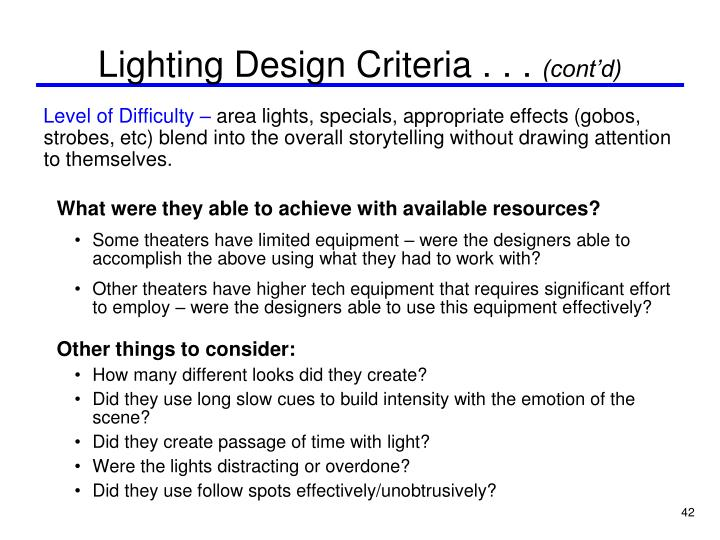 Lighting Design Criteria . . .