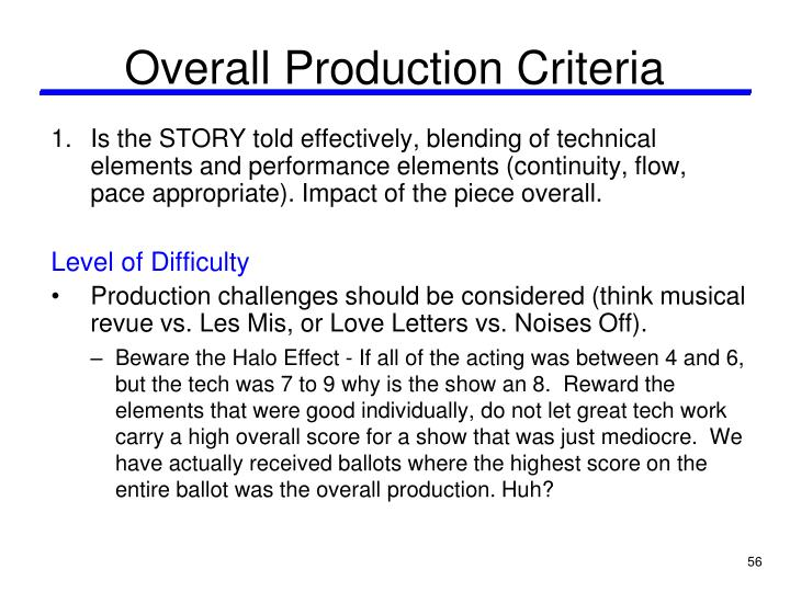 Overall Production Criteria