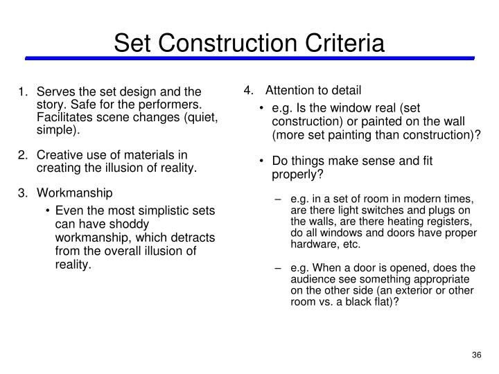 Set Construction Criteria