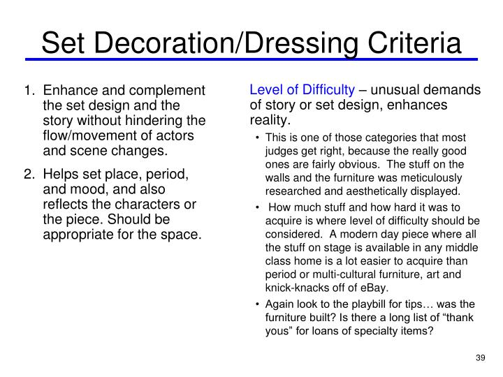 Set Decoration/Dressing Criteria