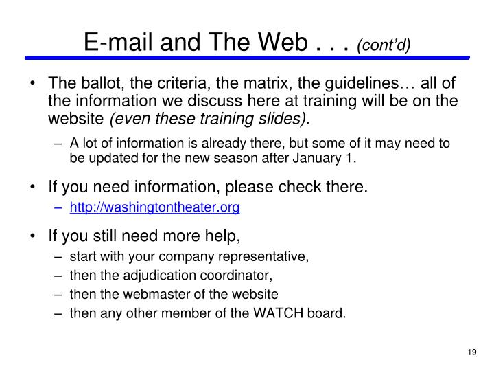 E-mail and The Web . . .