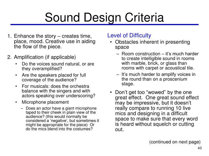 Sound Design Criteria