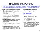 special effects criteria