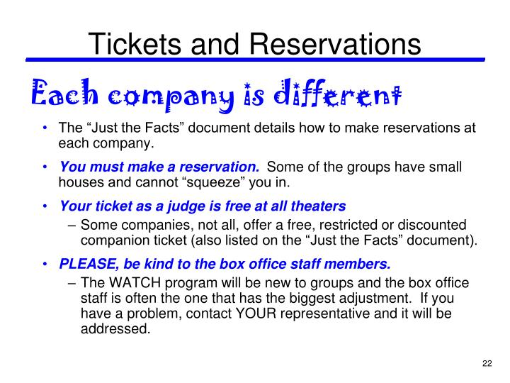 Tickets and Reservations