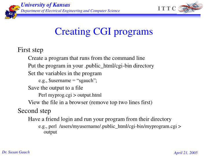 Creating CGI programs