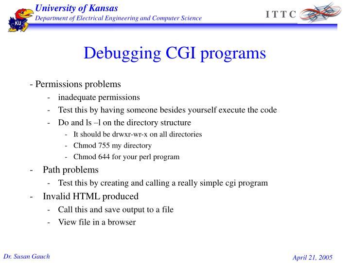 Debugging CGI programs
