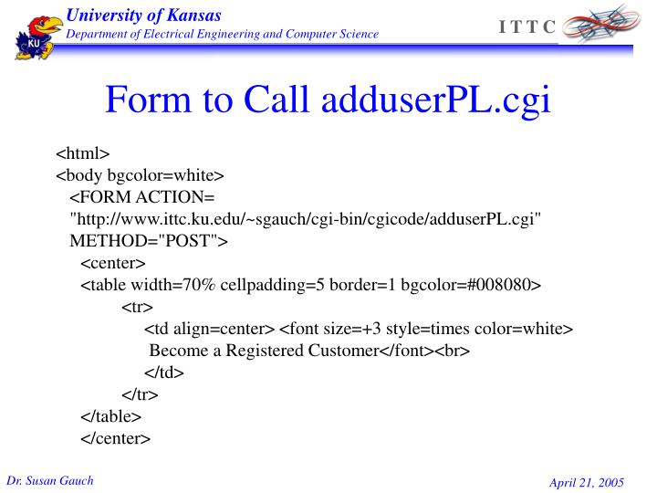 Form to Call adduserPL.cgi