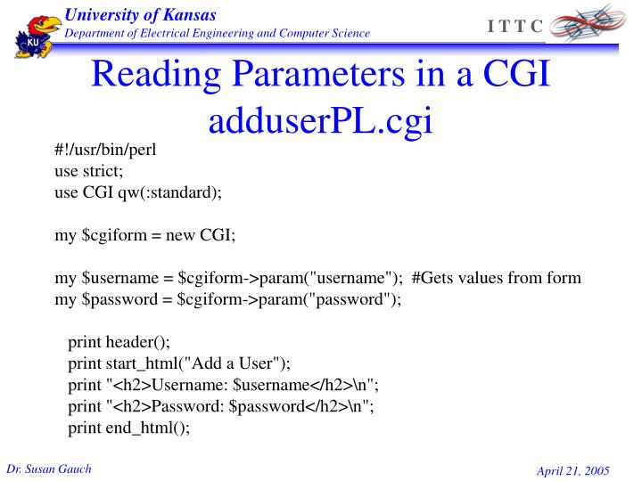 Reading Parameters in a CGI