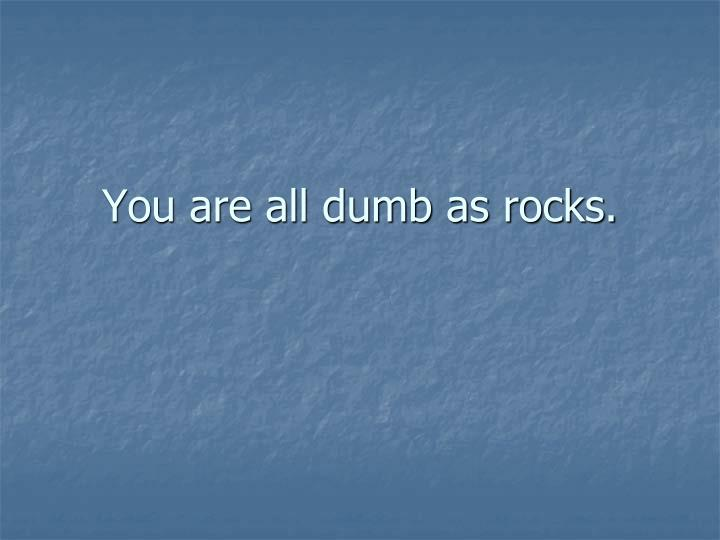 You are all dumb as rocks.