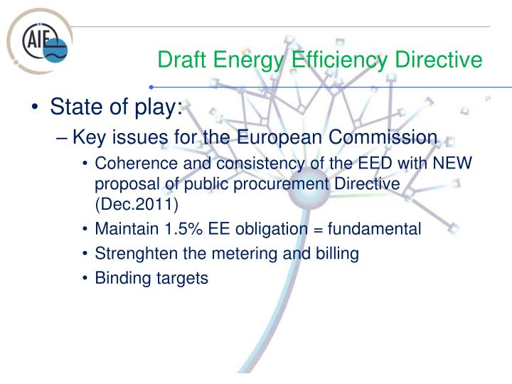 Draft energy efficiency directive
