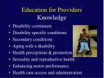education for providers knowledge1