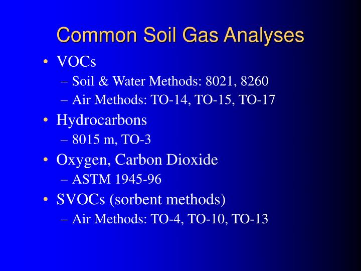 Common Soil Gas Analyses