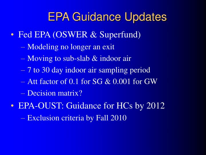 EPA Guidance Updates
