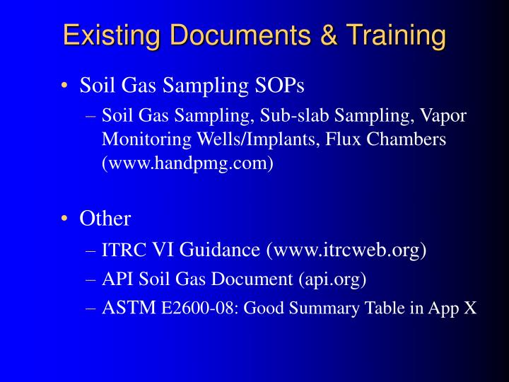 Existing Documents & Training