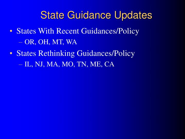 State Guidance Updates